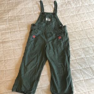 Olive embroidered overalls